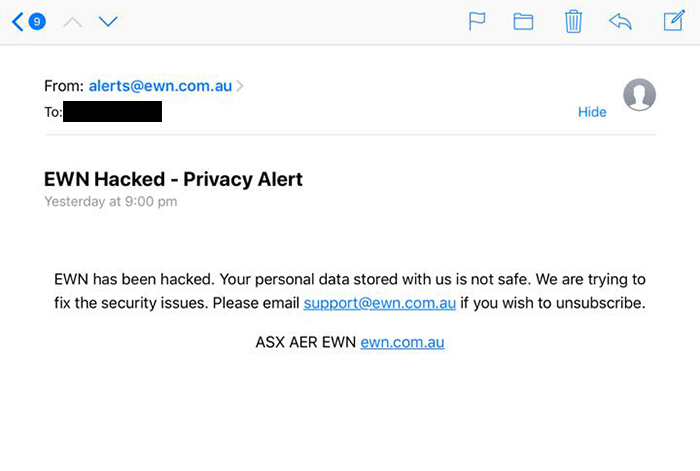 "Text message saying ""EWN has been hacked. Your personal data is not safe. Trying to fix the security issues""."