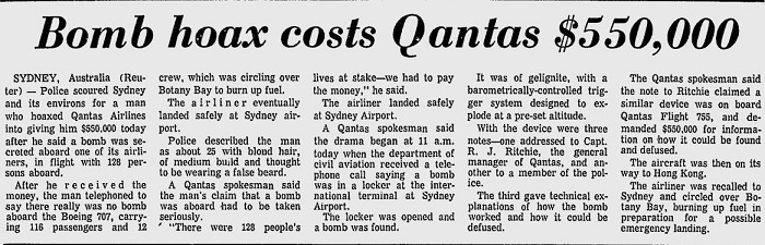 A newspaper clipping with the headline Bomb hoax costs Qantas $550,000.