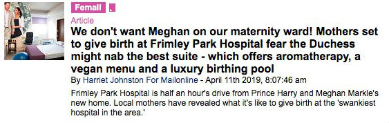 Title on fears Meghan grabs the best bed in the maternity ward