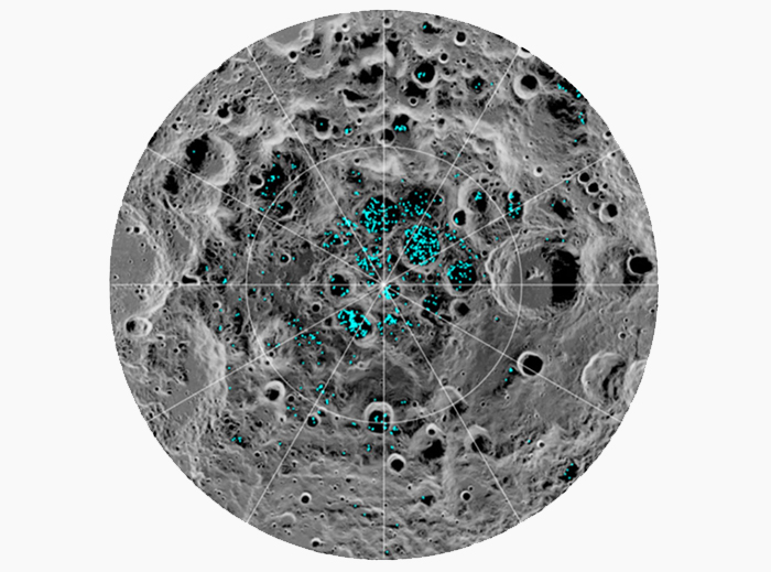 Blue dots illustrate sites of water ice on the Moon's south pole