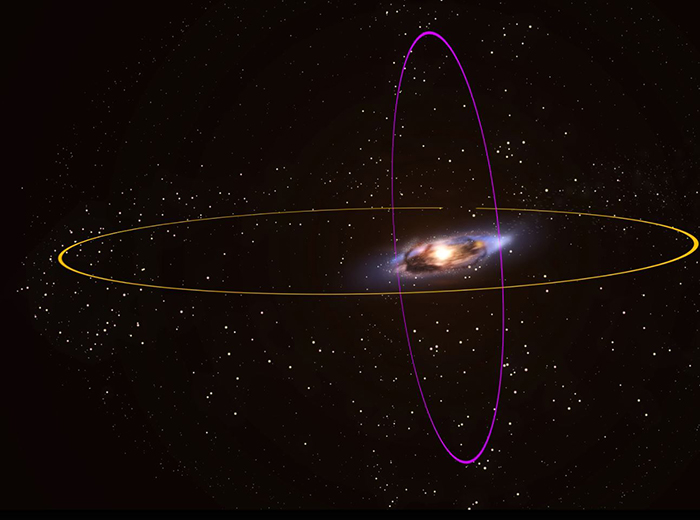 An illustration of the Andromeda galaxy and its two rings of orbiting star clusters.