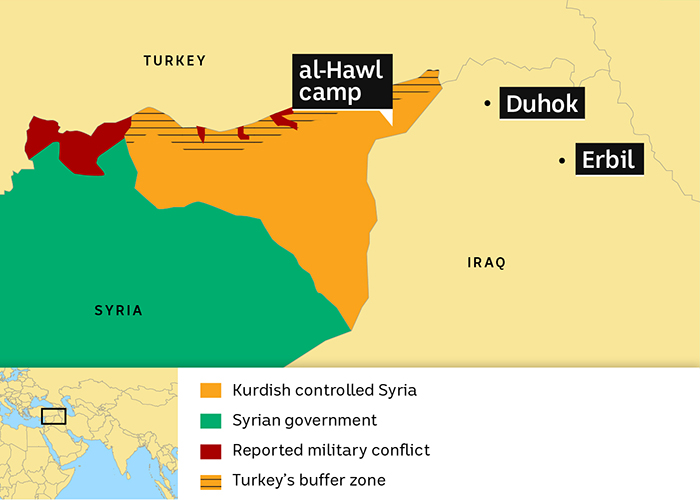 Map of Northern Syria showing border countries Turkey and Iraq as well as Kurdish forces, Al-Hawl camp, Duhok and Ebril
