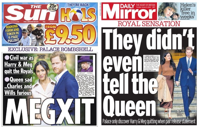 the front pages of The Sun and the Daily Mirror showing Harry and Meghan