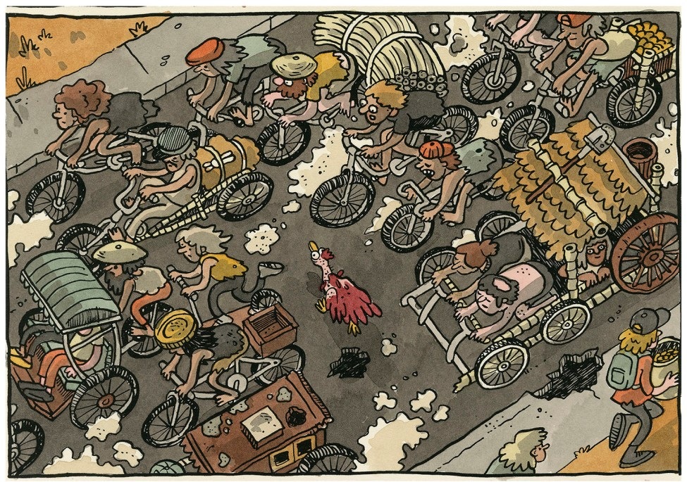 An illustration shows a bird's eye view of a bicycle race, with a chicken running through the crowd