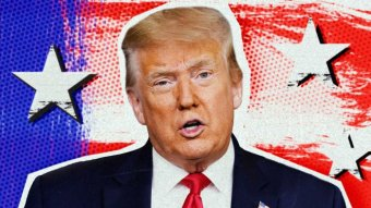 A graphic of US President Donald Trump against a blue and red background.