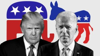 A composite image of Donald Trump and Joe Biden in front of the logos of the Republican and Democratic Party.