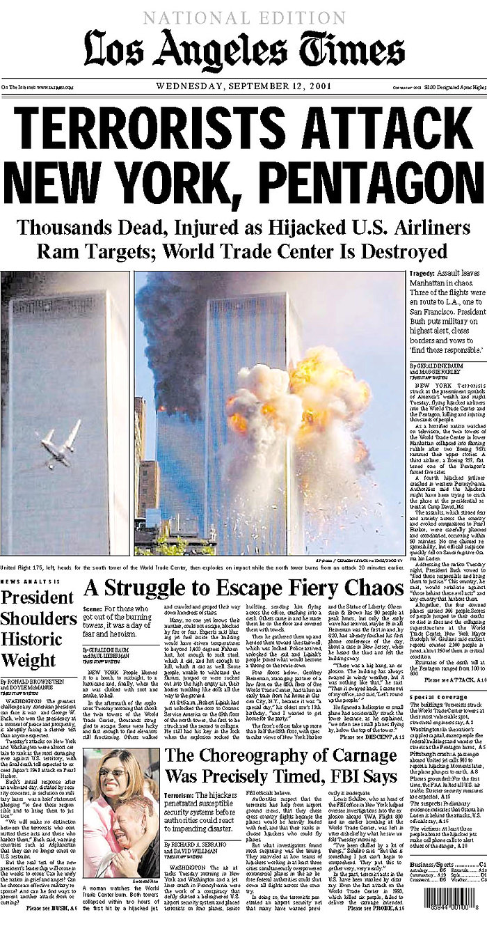 September 11 Newspaper front pages from the following day  ABC News Australian Broadcasting