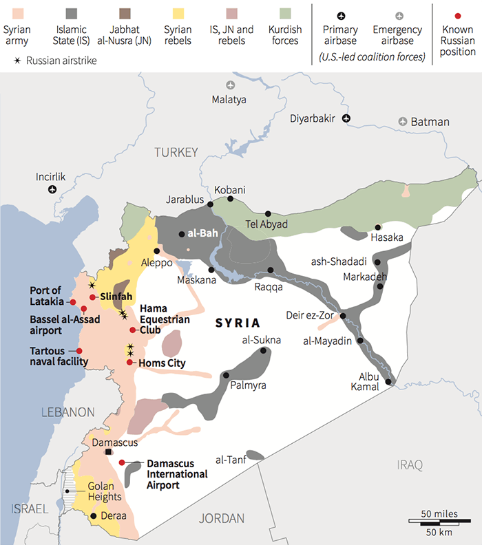 Map: Russia says its airstrikes in Syria have targeted IS but they have occurred in rebel-held parts of the country, ISW says.