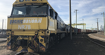 A freight train waiting to leave Melbourne