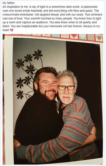Facebook tribute post by Mark Mahoney, to his father Anthony 'Johnny' Mahoney.