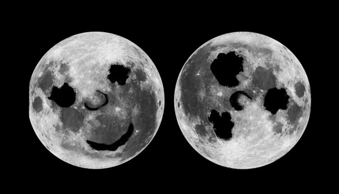 Southern and northern hemisphere views of the moon