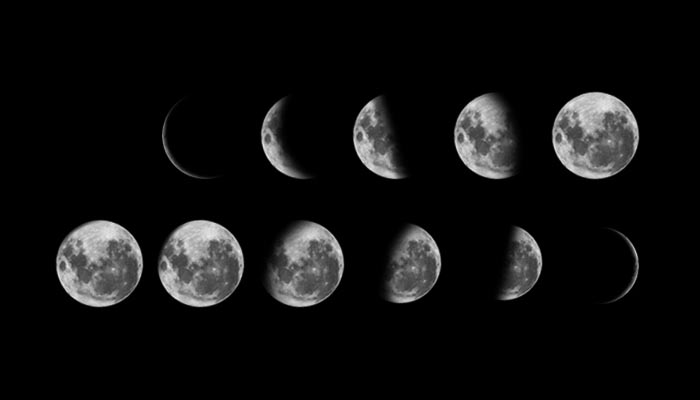 Phases of the moon from new moon to thin morning crescent