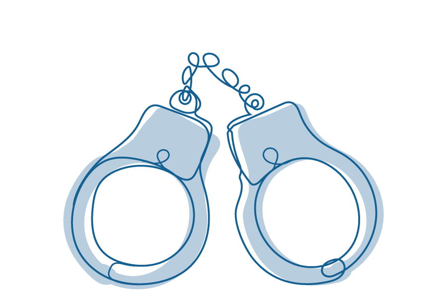 An illustration of a set of handcuffs.