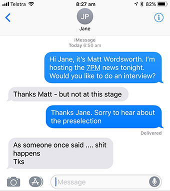 Text message: As someone once said .... shit happens Tks - from LNP MP Jane Prentice