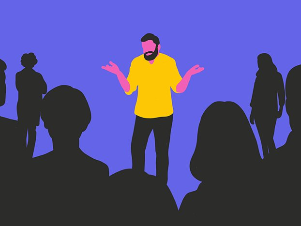 A man standing in front of a group of people confused about choosing the right psychologist