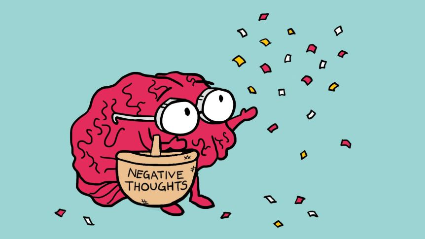 Illustration of a brain throwing negative thoughts from basket into the air to depict why we get negative thoughts before bed.
