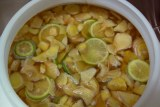 Ginger and lime in a pot.