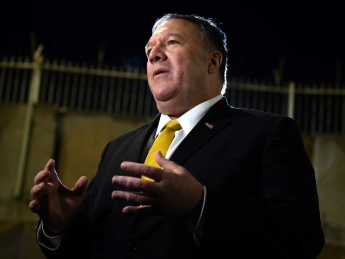 US Secretary of State Mike Pompeo spoke while moving his hands.