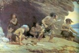Painting of a Neanderthal family by Charles R Knight (1920)
