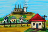 An illustration showing a house with a red roof, connected via powerlines to other houses and a power station.
