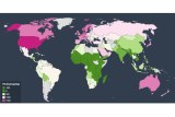 Map of the world showing how rich countries waste more food than poor countries