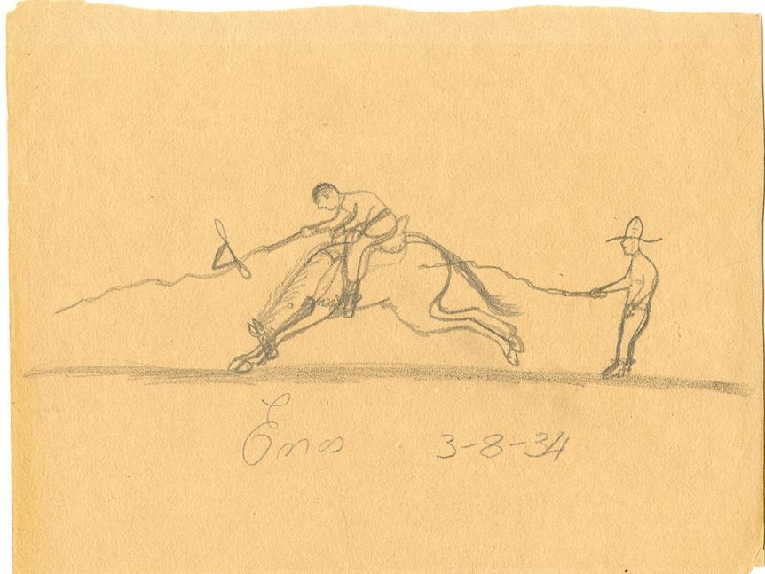 A pencil drawing of a man riding a horse