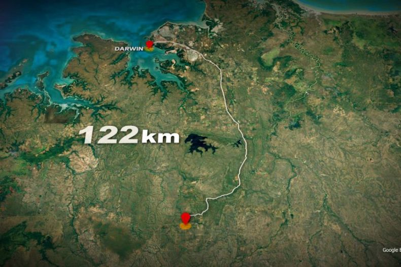 A map showing Darwin in the NT, and a point about 122km south of Darwin which is the location of a program for troubled kids