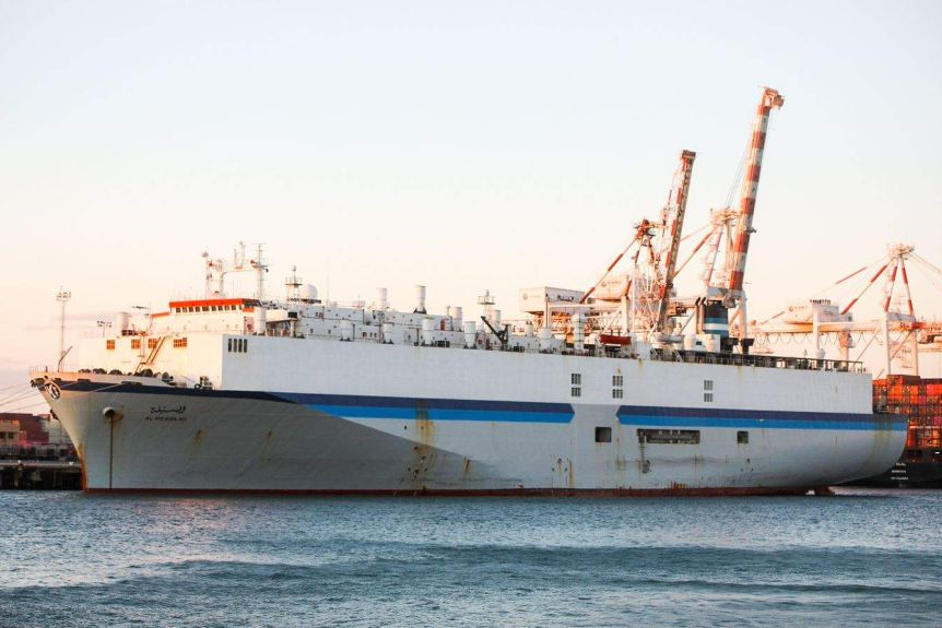 A livestock ship docked at Fremantle Port.