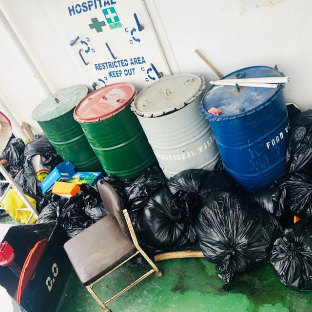 Rubbish accumulating outside an onboard clinic on a Vietnamese-crewed bulk carrier.