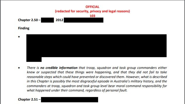 A heavily redacted page from the IGADF report.