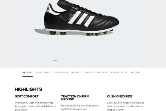 a black and white sports shoe on an online website, being described as kangaroo leather