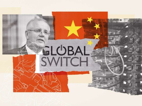 A collage of images including an older man with glasses, the Chinese flag, global switch logo and a soldier outline