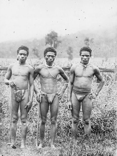 Male South Sea Islanders smoking pipes in Queensland, taken circa 1885.