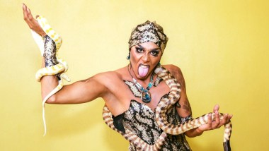 Jojo Zaho with a snake around their neck and arm, one of the queens rumoured for Drag Race Australia