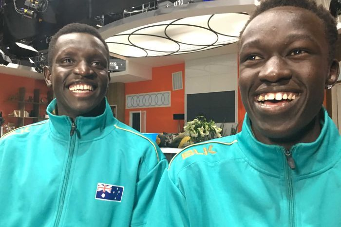 Australian middle distance runners Joseph Deng and Peter Bol on the News Breakfast couch