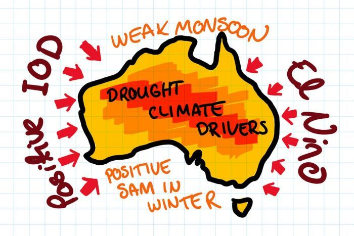 AUS with positive IOD to west, El Nino to east, Weak monsoon north and positive SAM in winter south.