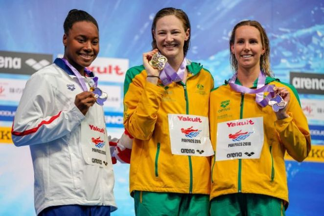 Simone Ashley Manuel of the United States, Cate Campbell and Emma Mckeon of Australia during the medal presentation ceremony.
