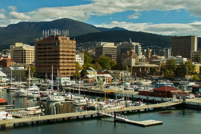 View to kunanyi/Mt Wellington from Hobart's waterfront precinct.