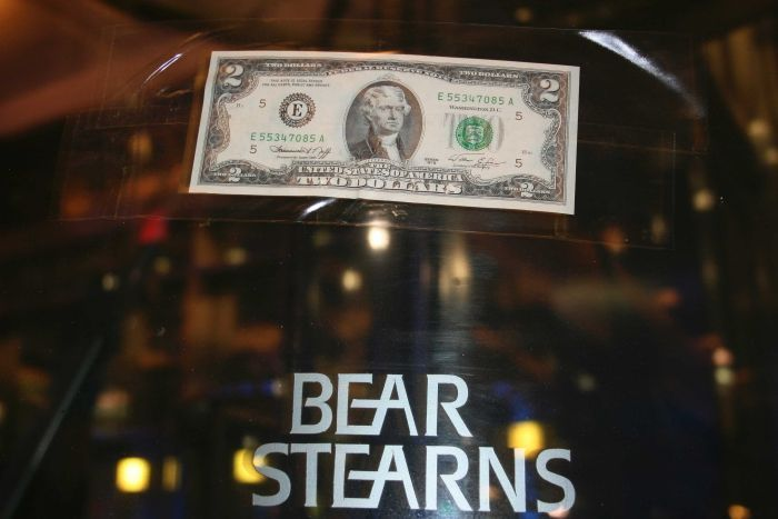 A $ 2 note stuck to the door of Bear Stern's office after J. P. Morgan offered to buy the bank for $ 2 a share
