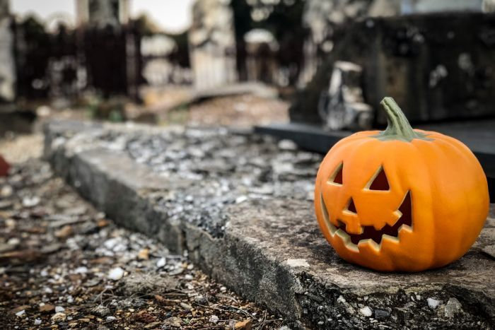 A carved pumpkin in the Halloween style resting on a gravestone at bendigo cemetery.