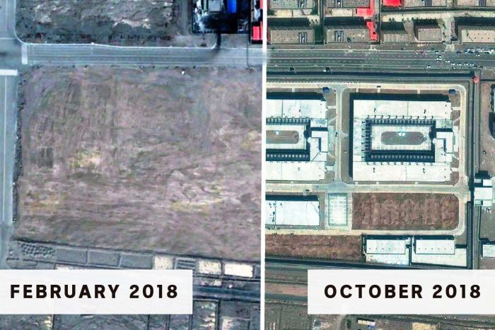 Two satellite images side-by-side from February and October 2018, showing buildings appearing.