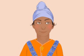 Illustration of a young Sikh boy wearing the patka-style turban