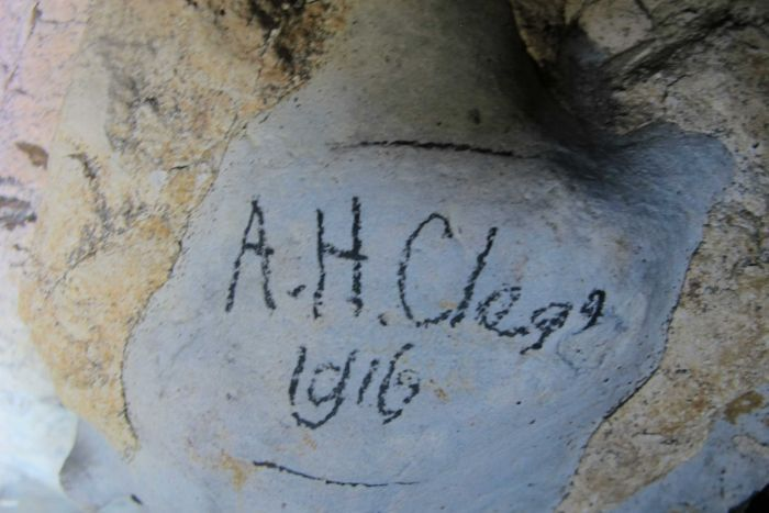 signature on cave wall