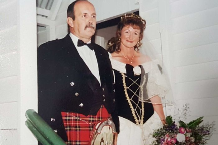 Couple Paul and Tina McBain on their wedding day.