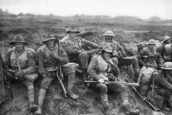 Australian soldiers resting en route to the trenches in December 1916.