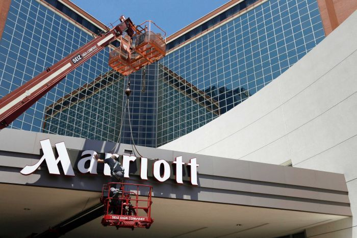 a photo of the front of a Marriott hotel