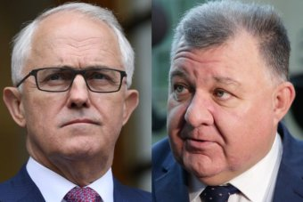 Mr Turnbull is on the left of frame, and Mr Kelly on the right.
