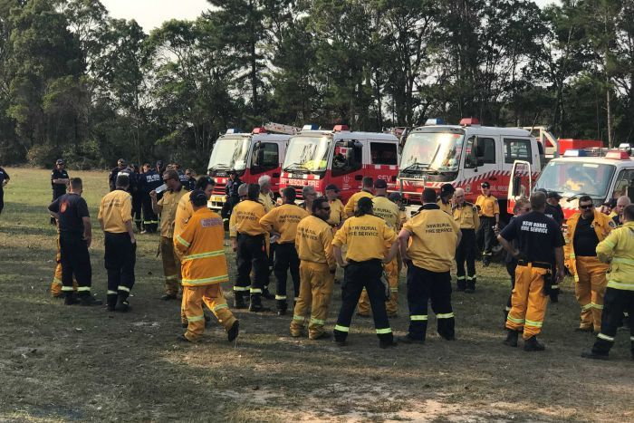 Ten Rural Fire Service appliances have arrived to assist the Yandaran Rural Fire Brigade in Winfield.