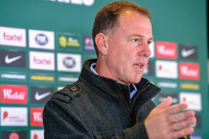 Matildas head coach Alen Stajcic speaks to the media at an official press conference