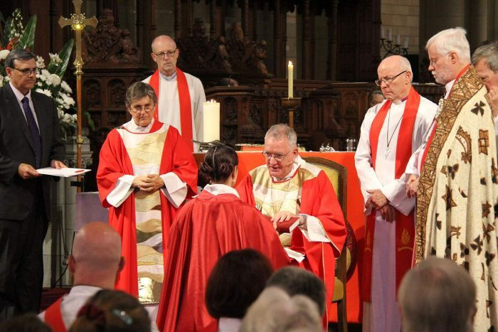 Anglican Archbishop of Brisbane Phillip Aspinall anoints Reverend Rosemary Gardiner